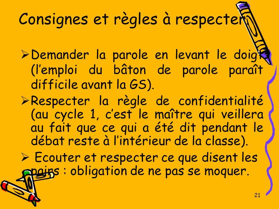 21 Consignes et règles à respecter. Demander la parole en levant le doigt (lemploi du bâton de parole paraît difficile avant la GS). Respecter la règl