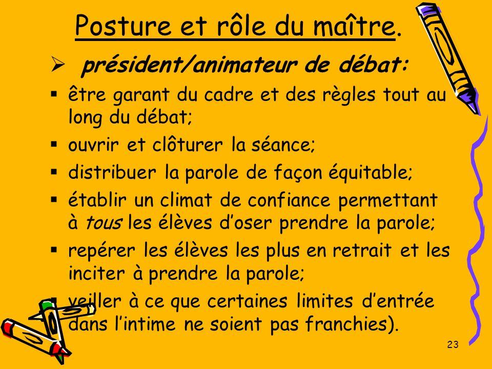23 Posture et rôle du maître. président/animateur de débat: être garant du cadre et des règles tout au long du débat; ouvrir et clôturer la séance; di