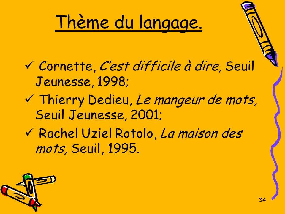 Thème du langage. Cornette, Cest difficile à dire, Seuil Jeunesse, 1998; Thierry Dedieu, Le mangeur de mots, Seuil Jeunesse, 2001; Rachel Uziel Rotolo