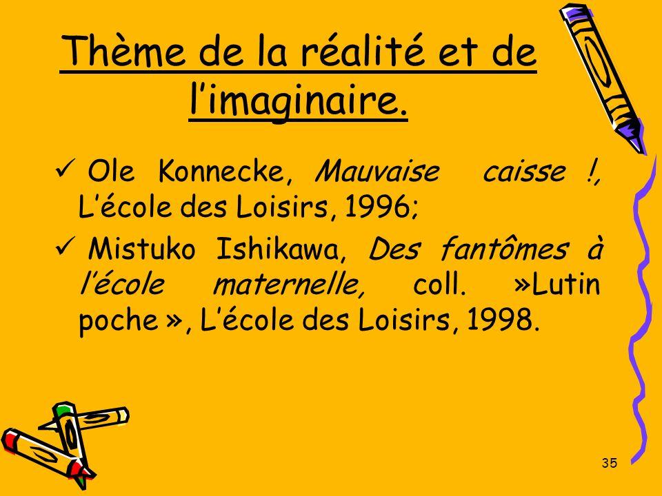 Thème de la réalité et de limaginaire. Ole Konnecke, Mauvaise caisse !, Lécole des Loisirs, 1996; Mistuko Ishikawa, Des fantômes à lécole maternelle,