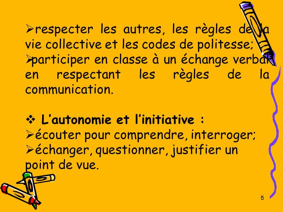 5 respecter les autres, les règles de la vie collective et les codes de politesse; participer en classe à un échange verbal en respectant les règles d