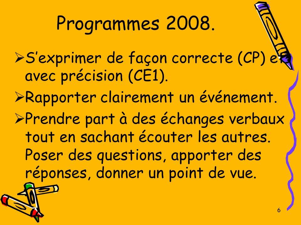 6 Programmes 2008. Sexprimer de façon correcte (CP) et avec précision (CE1). Rapporter clairement un événement. Prendre part à des échanges verbaux to