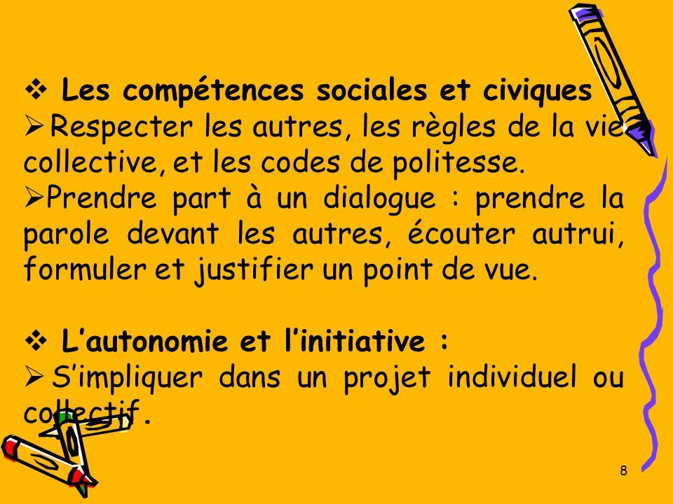 8 Les compétences sociales et civiques Respecter les autres, les règles de la vie collective, et les codes de politesse. Prendre part à un dialogue :