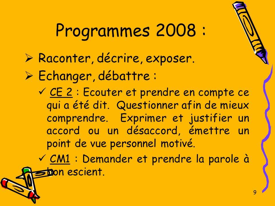 9 Programmes 2008 : Raconter, décrire, exposer. Echanger, débattre : CE 2 : Ecouter et prendre en compte ce qui a été dit. Questionner afin de mieux c