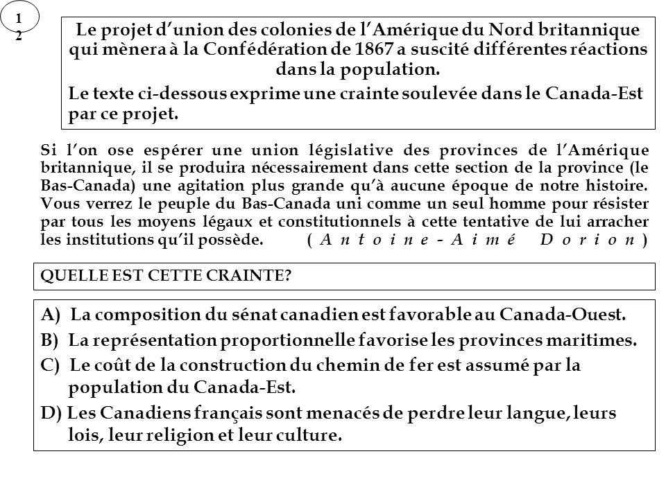 1212 Le projet dunion des colonies de lAmérique du Nord britannique qui mènera à la Confédération de 1867 a suscité différentes réactions dans la popu