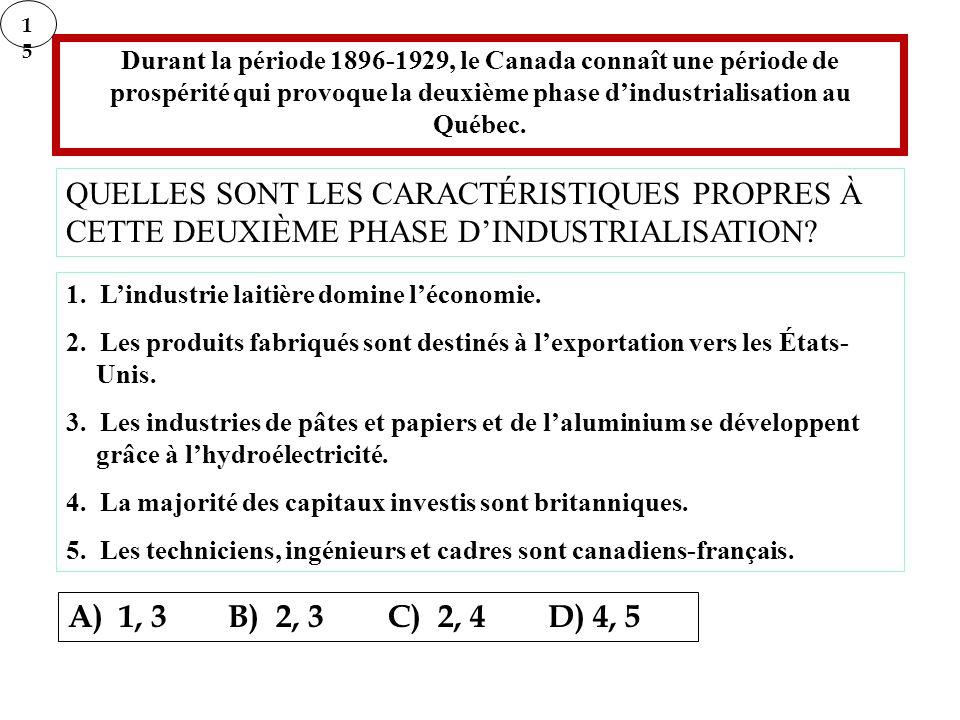 Durant la période 1896-1929, le Canada connaît une période de prospérité qui provoque la deuxième phase dindustrialisation au Québec. QUELLES SONT LES