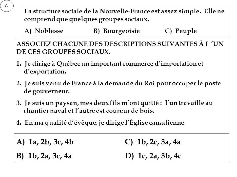6 La structure sociale de la Nouvelle-France est assez simple. Elle ne comprend que quelques groupes sociaux. A) NoblesseB) BourgeoisieC) Peuple ASSOC