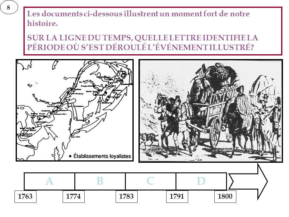 8 Les documents ci-dessous illustrent un moment fort de notre histoire. SUR LA LIGNE DU TEMPS, QUELLE LETTRE IDENTIFIE LA PÉRIODE OÙ SEST DÉROULÉ LÉVÉ