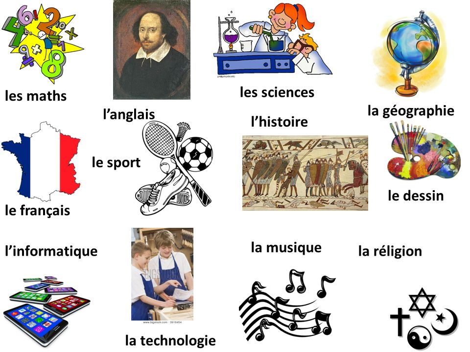 les maths langlais les sciences la géographie le français le sport lhistoire le dessin linformatique la technologie la musique la réligion