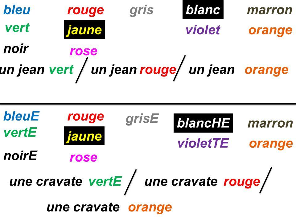 bleurougemarron jaune vert rose noir gris blanc violetorange rouge jaune rose rouge bleuE vertE noirE vertE grisE blancHE violetTE marron orange un je