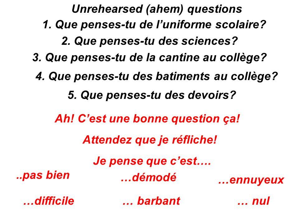 Unrehearsed (ahem) questions 1. Que penses-tu de luniforme scolaire? 2. Que penses-tu des sciences? 3. Que penses-tu de la cantine au collège? 4. Que