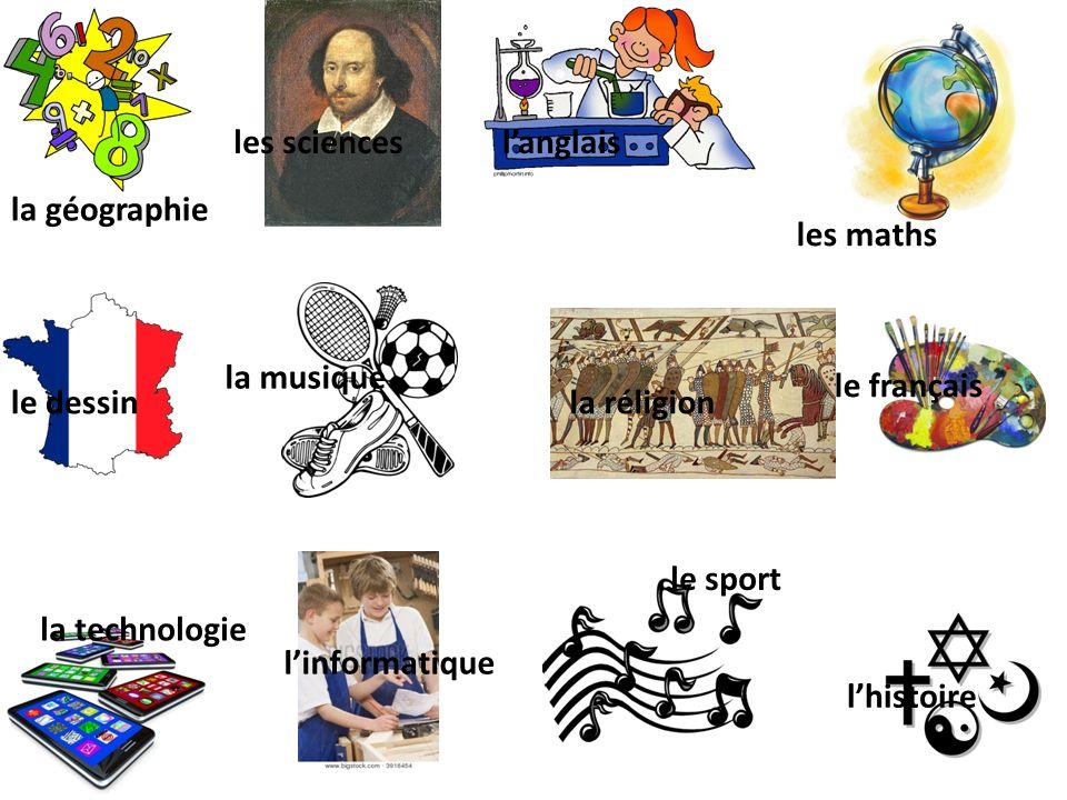 les maths langlaisles sciences la géographie le français le sport lhistoire le dessin linformatique la technologie la musique la réligion