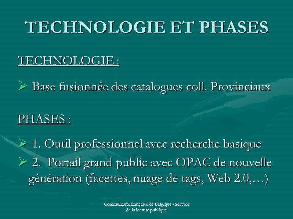 Communauté française de Belgique - Service de la lecture publique TECHNOLOGIE ET PHASES TECHNOLOGIE : Base fusionnée des catalogues coll.
