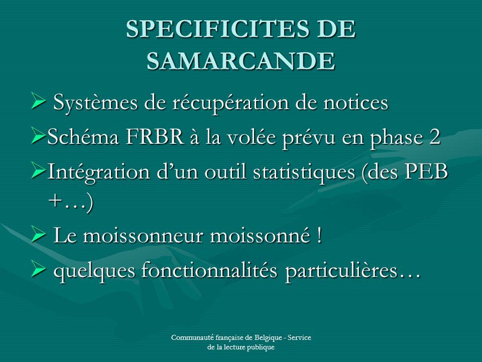 Communauté française de Belgique - Service de la lecture publique