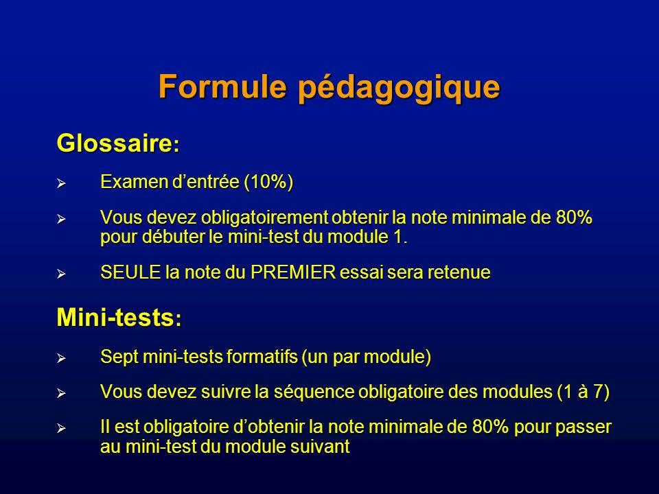 Formule pédagogique Glossaire : Examen dentrée (10%) Examen dentrée (10%) Vous devez obligatoirement obtenir la note minimale de 80% pour débuter le mini-test du module 1.