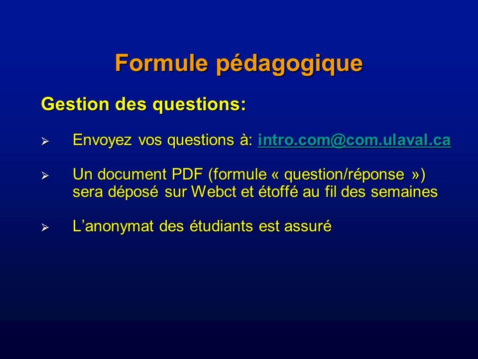 Gestion des questions: Envoyez vos questions à: intro.com@com.ulaval.ca Envoyez vos questions à: intro.com@com.ulaval.caintro.com@com.ulaval.ca Un document PDF (formule « question/réponse ») sera déposé sur Webct et étoffé au fil des semaines Un document PDF (formule « question/réponse ») sera déposé sur Webct et étoffé au fil des semaines Lanonymat des étudiants est assuré Lanonymat des étudiants est assuré