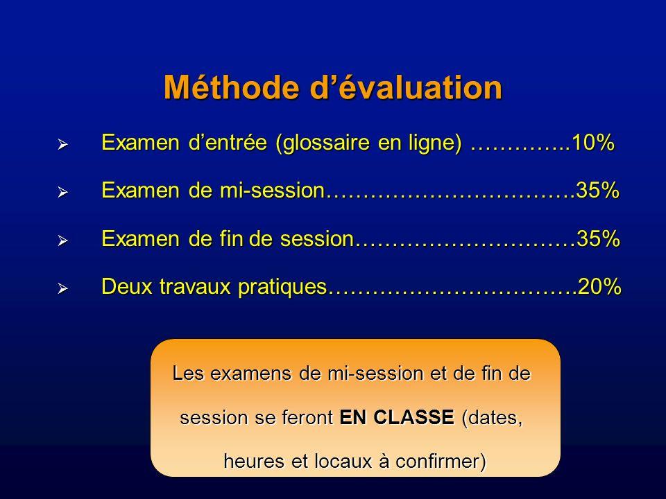 Méthode dévaluation Examen dentrée (glossaire en ligne) …………..10% Examen dentrée (glossaire en ligne) …………..10% Examen de mi-session…………………………….35% Examen de mi-session…………………………….35% Examen de fin de session…………………………35% Examen de fin de session…………………………35% Deux travaux pratiques…………………………….20% Deux travaux pratiques…………………………….20% Les examens de mi-session et de fin de session se feront EN CLASSE (dates, heures et locaux à confirmer)