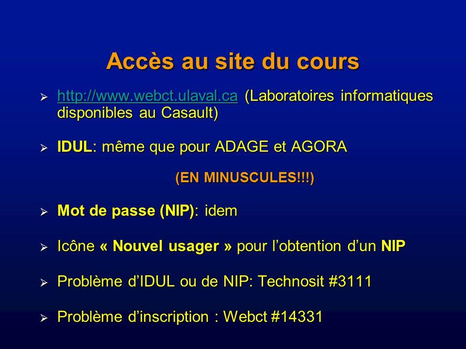 Accès au site du cours http://www.webct.ulaval.ca(Laboratoires informatiques disponibles au Casault) http://www.webct.ulaval.ca (Laboratoires informatiques disponibles au Casault) http://www.webct.ulaval.ca IDULmême que pour ADAGE et AGORA IDUL: même que pour ADAGE et AGORA (EN MINUSCULES!!!) Mot de passe (NIP): idem Mot de passe (NIP): idem Icône « Nouvel usager » pour lobtention dun NIP Icône « Nouvel usager » pour lobtention dun NIP Problème dIDUL ou de NIP: Technosit #3111 Problème dIDUL ou de NIP: Technosit #3111 Problème dinscription : Webct #14331 Problème dinscription : Webct #14331