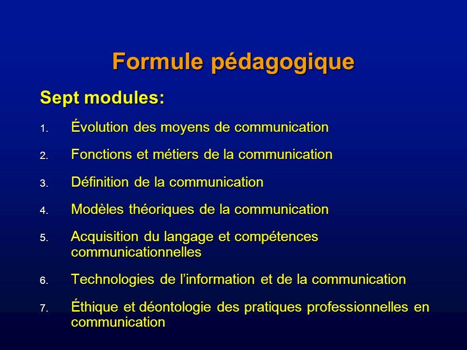 Formule pédagogique Sept modules: 1.Évolution des moyens de communication 2.