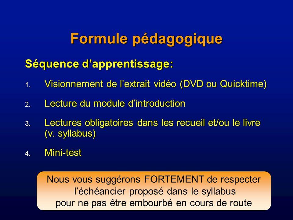 Séquence dapprentissage: 1.Visionnement de lextrait vidéo (DVD ou Quicktime) 2.