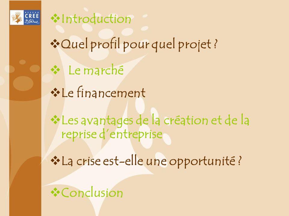 Introduction Quel profil pour quel projet ? Le marché Le financement Les avantages de la création et de la reprise dentreprise La crise est-elle une o