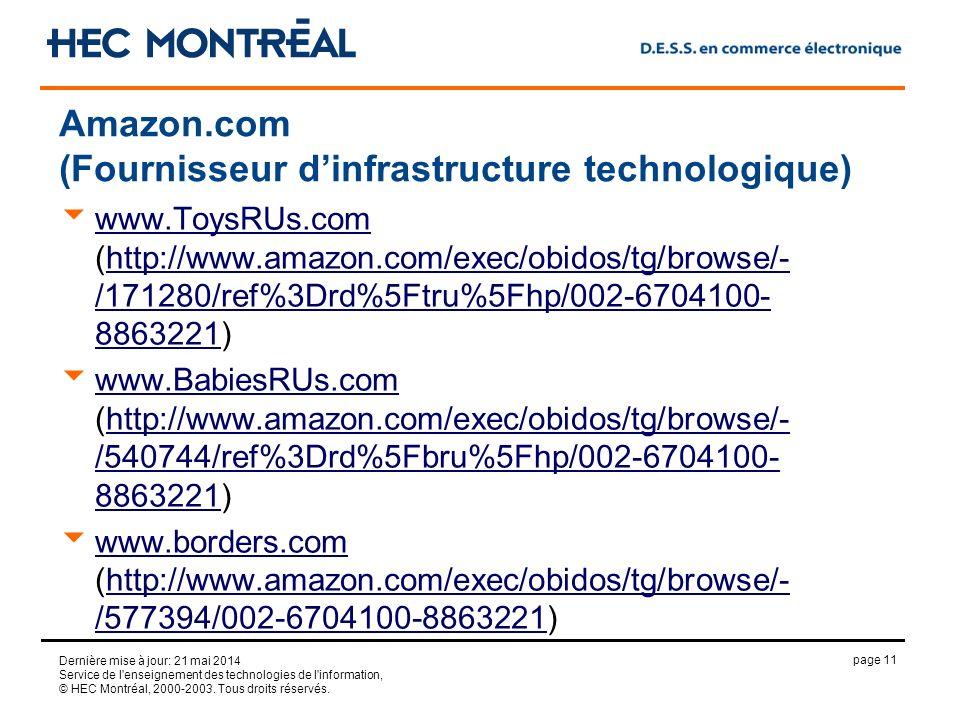 page 11 Dernière mise à jour: 21 mai 2014 Service de l'enseignement des technologies de l'information, © HEC Montréal, 2000-2003. Tous droits réservés