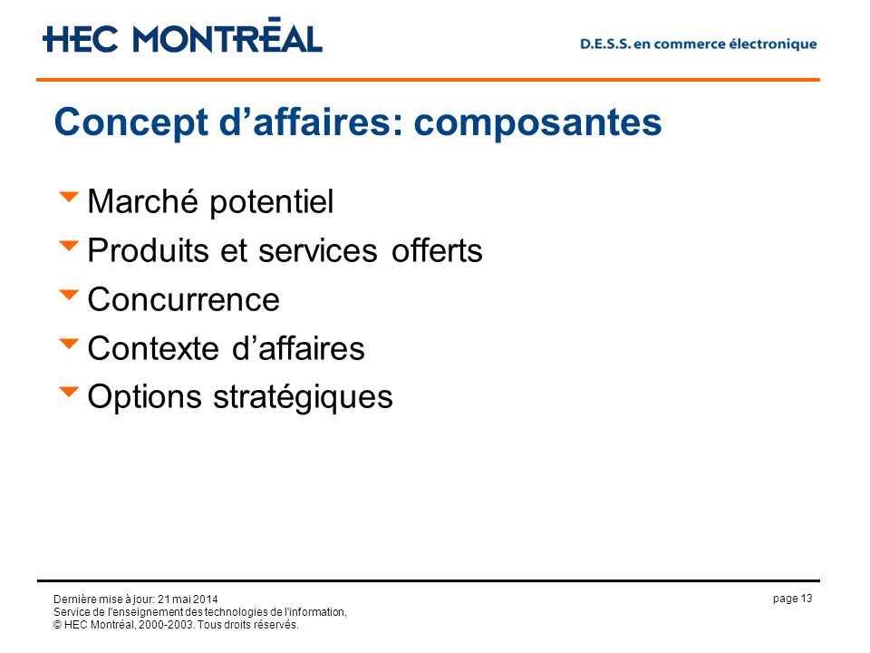page 13 Dernière mise à jour: 21 mai 2014 Service de l'enseignement des technologies de l'information, © HEC Montréal, 2000-2003. Tous droits réservés