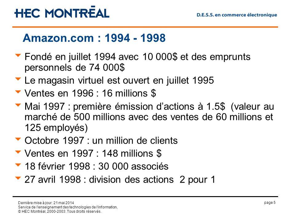 page 5 Dernière mise à jour: 21 mai 2014 Service de l'enseignement des technologies de l'information, © HEC Montréal, 2000-2003. Tous droits réservés.