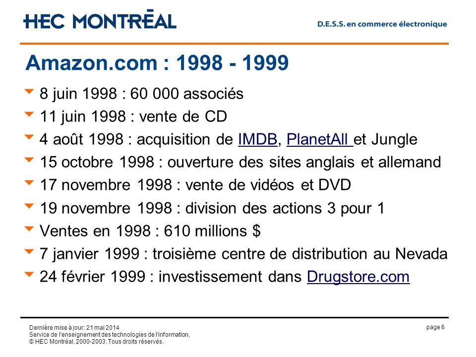 page 6 Dernière mise à jour: 21 mai 2014 Service de l'enseignement des technologies de l'information, © HEC Montréal, 2000-2003. Tous droits réservés.