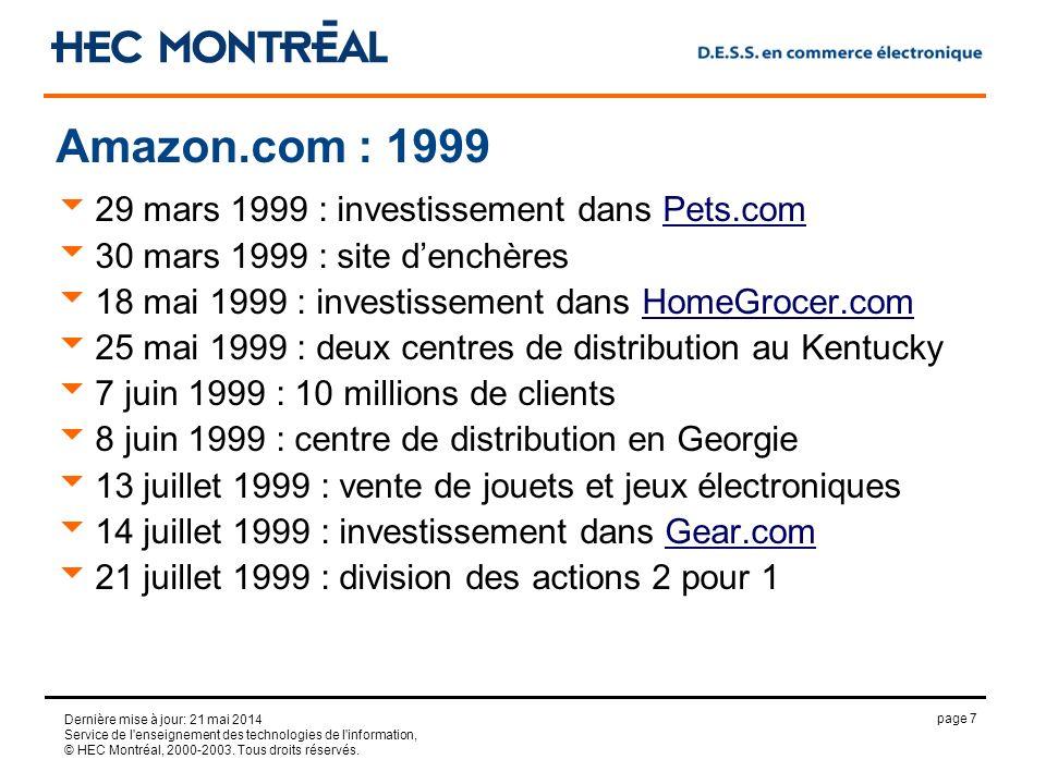 page 7 Dernière mise à jour: 21 mai 2014 Service de l'enseignement des technologies de l'information, © HEC Montréal, 2000-2003. Tous droits réservés.