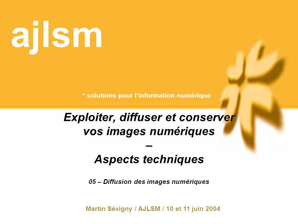 * solutions pour linformation numérique ajlsm Exploiter, diffuser et conserver vos images numériques – Aspects techniques Martin Sévigny / AJLSM / 10 et 11 juin 2004 05 – Diffusion des images numériques