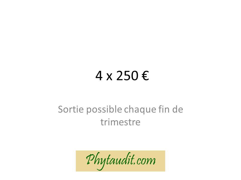4 x 250 Sortie possible chaque fin de trimestre Phytaudit.com