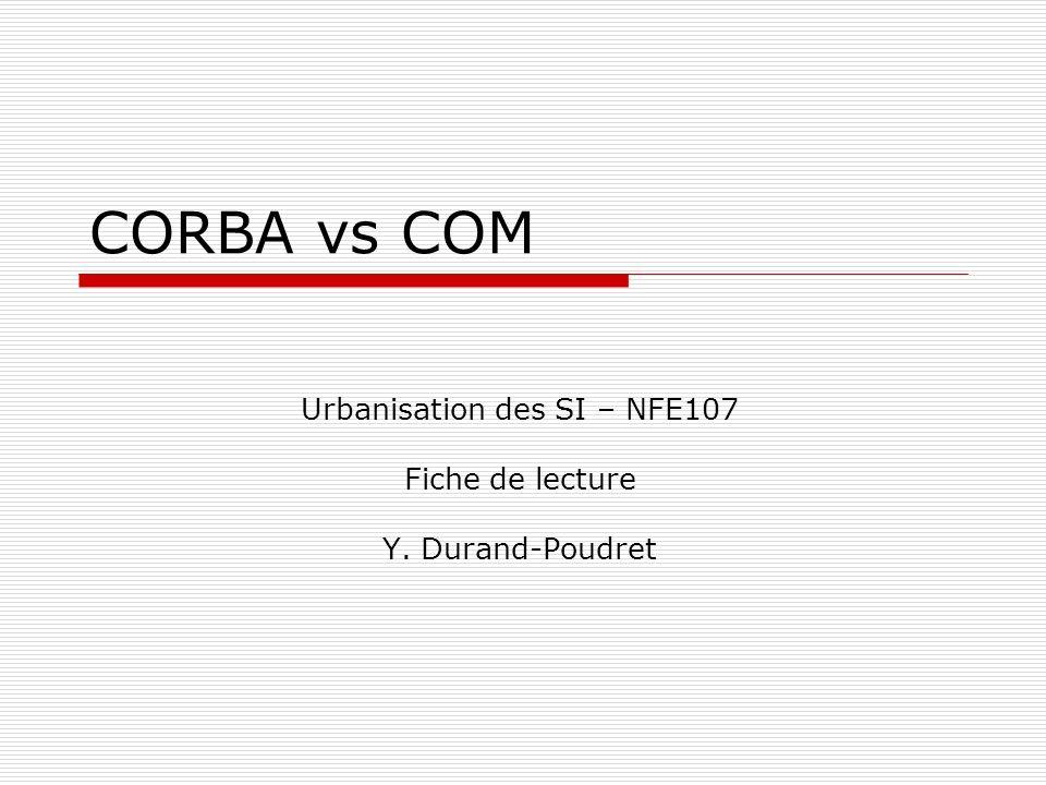 NFE107Yoann Durand-Poudret12 CORBA : LORB #7 BOA BOA (Basic Object Adapter) Le BOA est donc l interface qui permet aux implémentations objet de pouvoir communiquer avec l ORB et d accéder à ses services (cf.