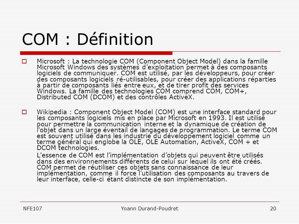 NFE107Yoann Durand-Poudret20 COM : Définition Microsoft : La technologie COM (Component Object Model) dans la famille Microsoft Windows des systèmes d