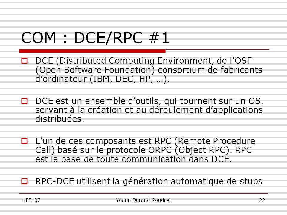 NFE107Yoann Durand-Poudret22 COM : DCE/RPC #1 DCE (Distributed Computing Environment, de lOSF (Open Software Foundation) consortium de fabricants dord