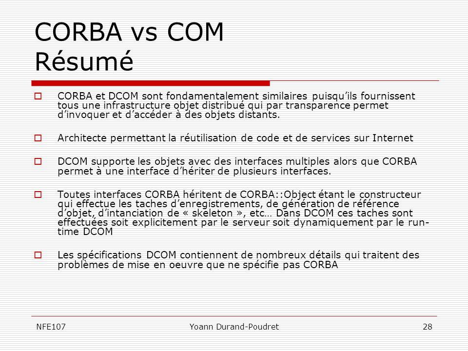 NFE107Yoann Durand-Poudret28 CORBA vs COM Résumé CORBA et DCOM sont fondamentalement similaires puisquils fournissent tous une infrastructure objet di