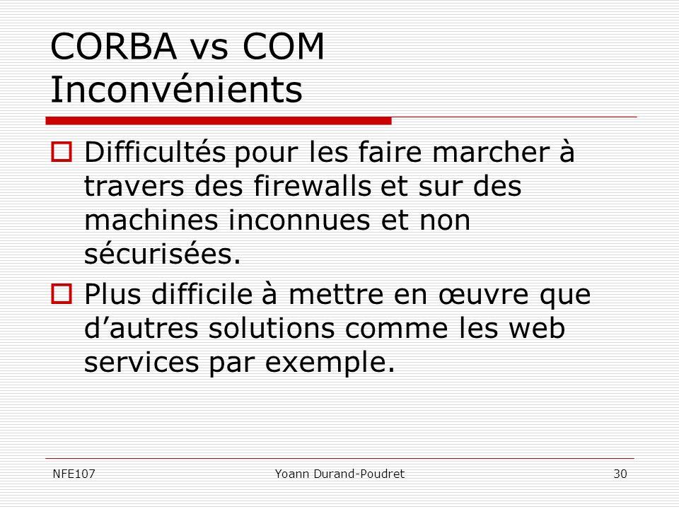 NFE107Yoann Durand-Poudret30 CORBA vs COM Inconvénients Difficultés pour les faire marcher à travers des firewalls et sur des machines inconnues et no