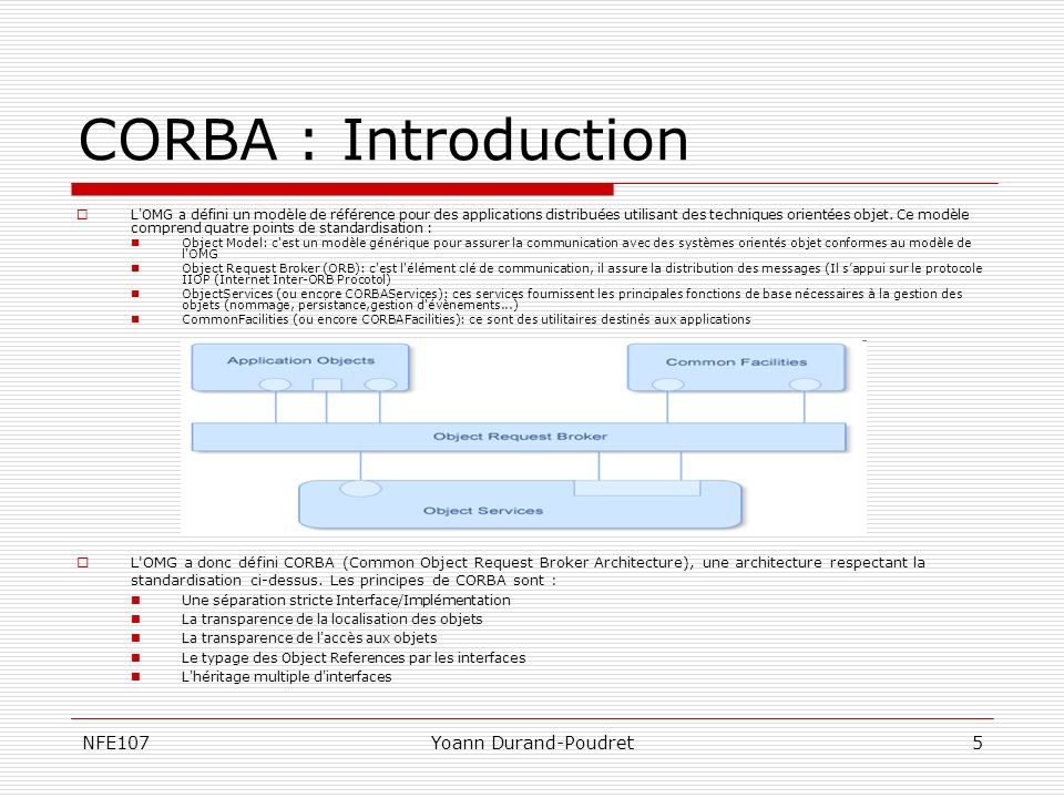 NFE107Yoann Durand-Poudret26 CORBA vs COM Architecture DCOM