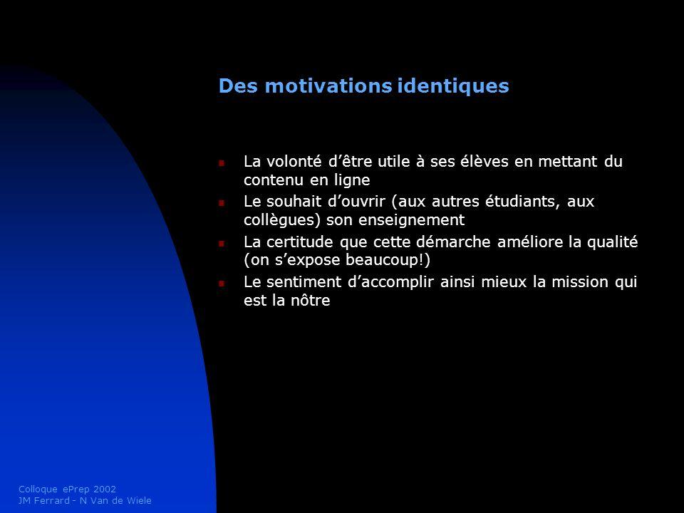 Colloque ePrep 2002 JM Ferrard - N Van de Wiele Des motivations identiques La volonté dêtre utile à ses élèves en mettant du contenu en ligne Le souha
