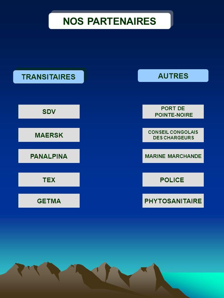 NOS PARTENAIRES TRANSITAIRES AUTRES SDV MAERSK PANALPINA GETMA TEX CONSEIL CONGOLAIS DES CHARGEURS POLICE PHYTOSANITAIRE PORT DE POINTE-NOIRE MARINE M