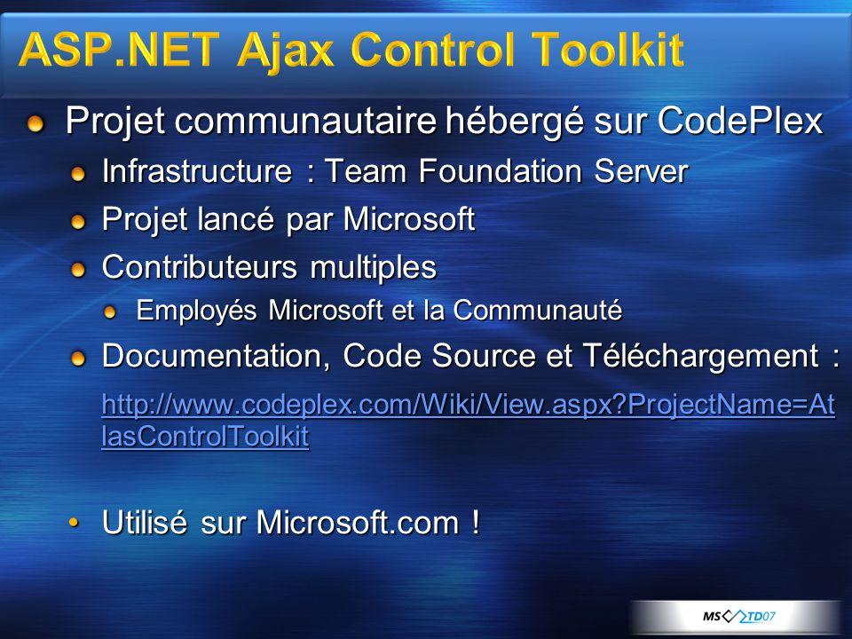 Projet communautaire hébergé sur CodePlex Infrastructure : Team Foundation Server Projet lancé par Microsoft Contributeurs multiples Employés Microsoft et la Communauté Documentation, Code Source et Téléchargement : http://www.codeplex.com/Wiki/View.aspx ProjectName=At lasControlToolkit http://www.codeplex.com/Wiki/View.aspx ProjectName=At lasControlToolkit Utilisé sur Microsoft.com !Utilisé sur Microsoft.com !