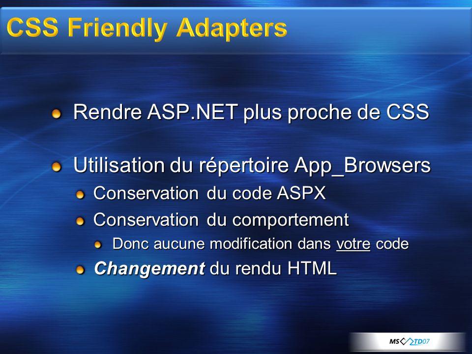 Rendre ASP.NET plus proche de CSS Utilisation du répertoire App_Browsers Conservation du code ASPX Conservation du comportement Donc aucune modification dans votre code Changement du rendu HTML