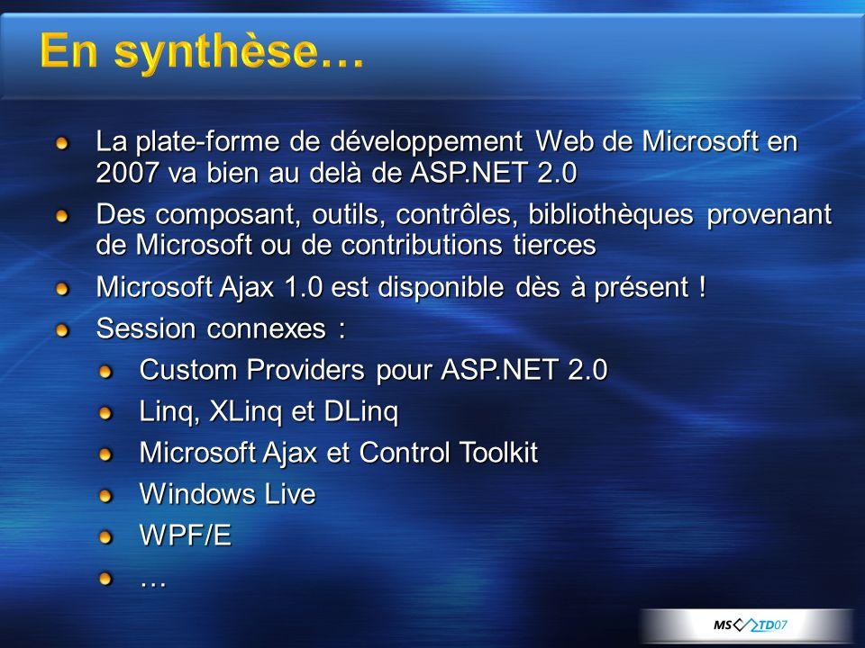 La plate-forme de développement Web de Microsoft en 2007 va bien au delà de ASP.NET 2.0 Des composant, outils, contrôles, bibliothèques provenant de Microsoft ou de contributions tierces Microsoft Ajax 1.0 est disponible dès à présent .
