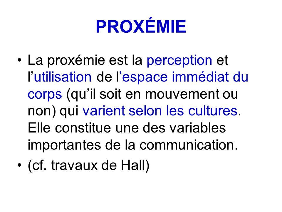PROXÉMIE La proxémie est la perception et lutilisation de lespace immédiat du corps (quil soit en mouvement ou non) qui varient selon les cultures. El