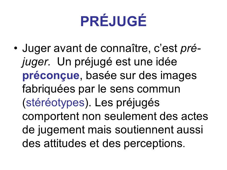 PRÉJUGÉ Juger avant de connaître, cest pré- juger. Un préjugé est une idée préconçue, basée sur des images fabriquées par le sens commun (stéréotypes)