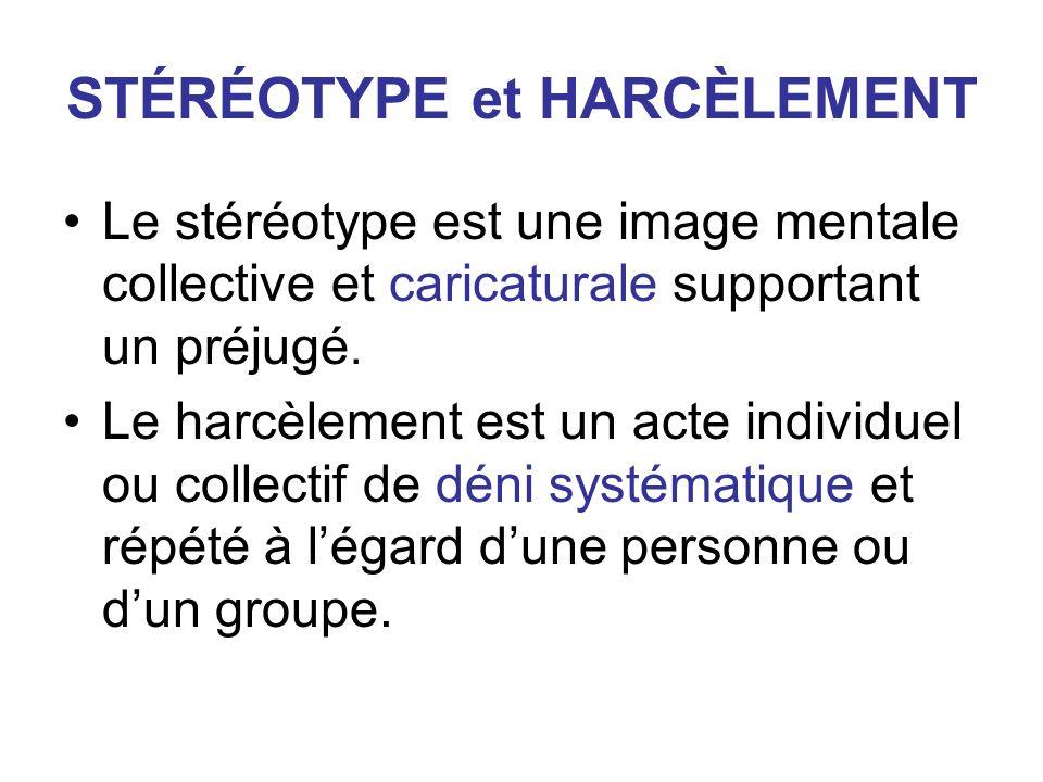 STÉRÉOTYPE et HARCÈLEMENT Le stéréotype est une image mentale collective et caricaturale supportant un préjugé. Le harcèlement est un acte individuel