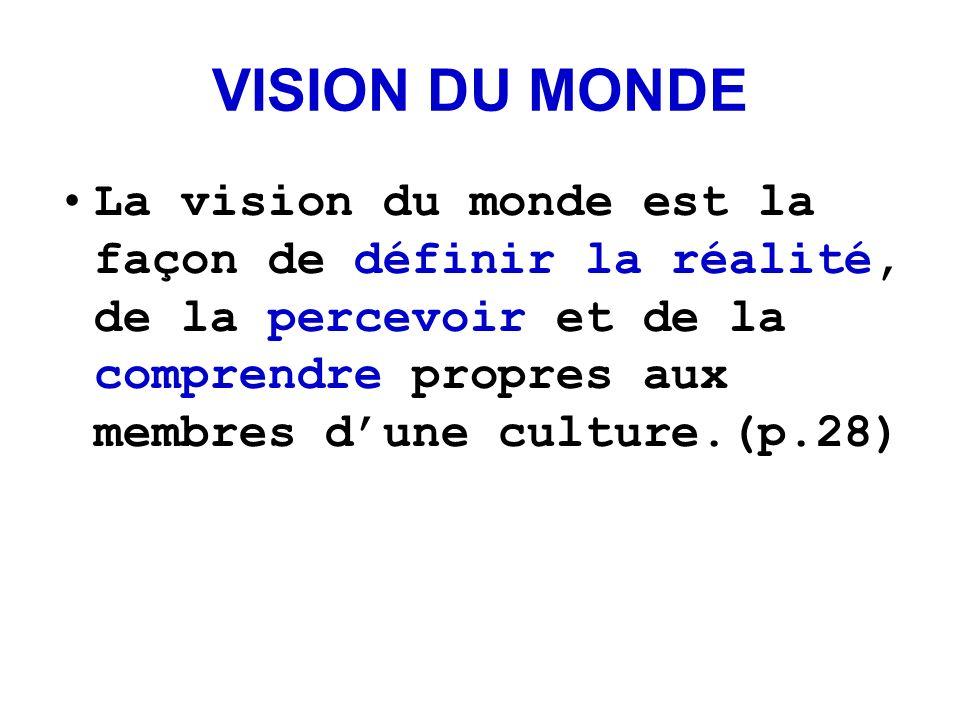VISION DU MONDE La vision du monde est la façon de définir la réalité, de la percevoir et de la comprendre propres aux membres dune culture.(p.28)