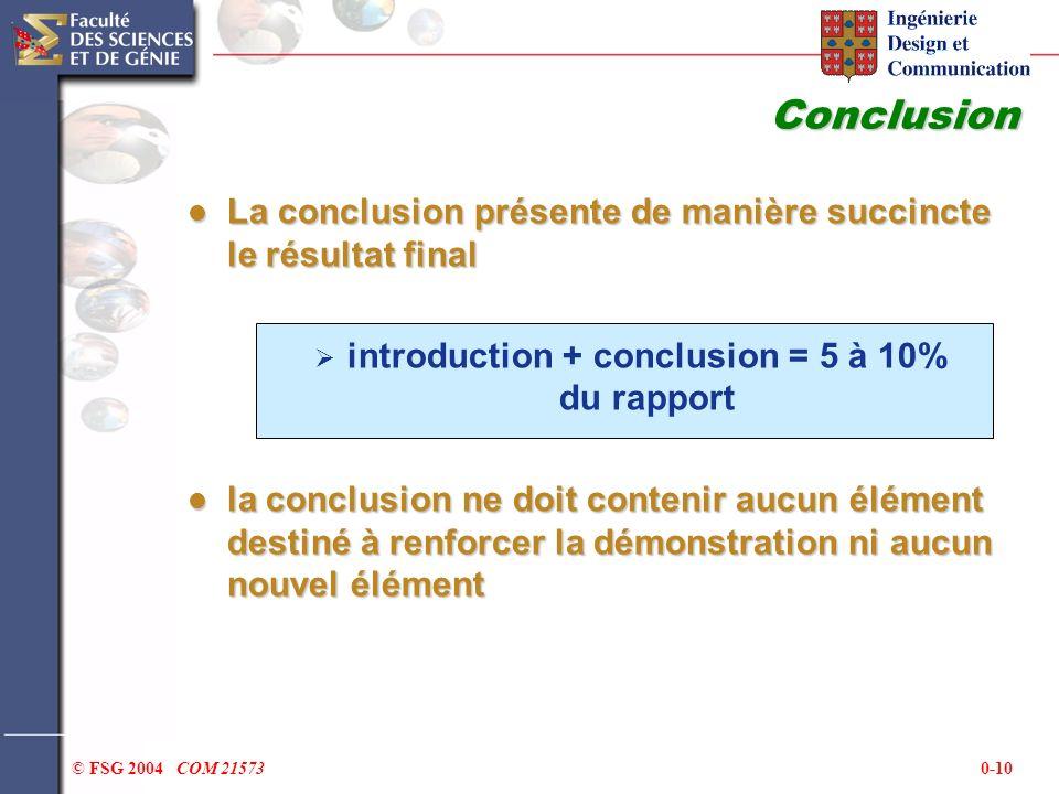 0-10© FSG 2004 COM 21573 Conclusion La conclusion présente de manière succincte le résultat final La conclusion présente de manière succincte le résul