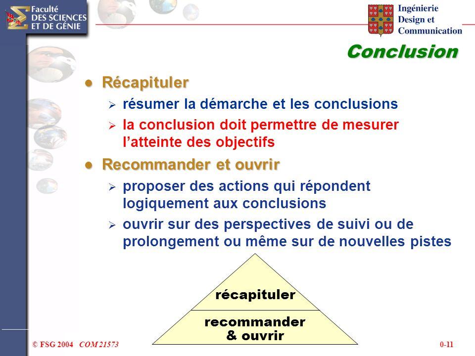 0-11© FSG 2004 COM 21573 Conclusion Récapituler Récapituler résumer la démarche et les conclusions la conclusion doit permettre de mesurer latteinte d