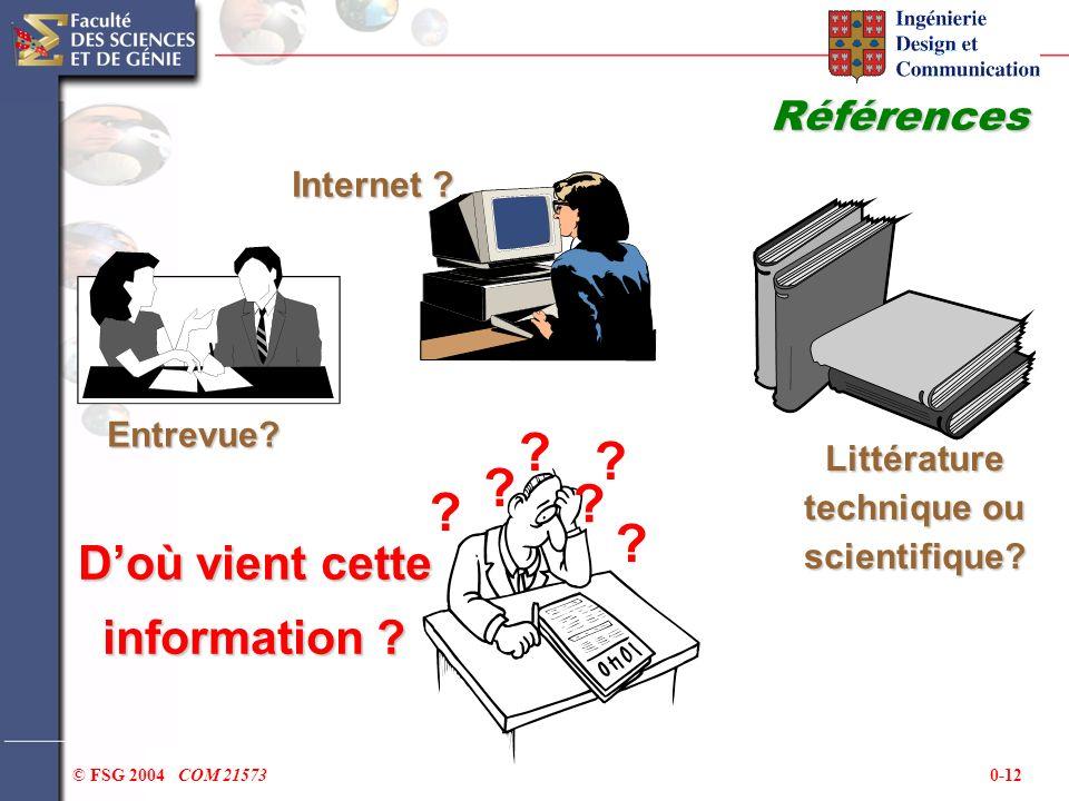 0-12© FSG 2004 COM 21573 Références Entrevue? Internet ? Littérature technique ou scientifique? ? ? ? ? ? ? Doù vient cette information ?